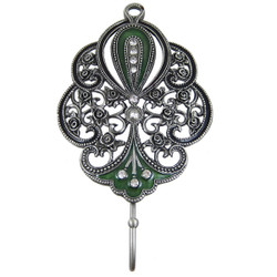 Victorian Rose Wall Hook Jeweled Green