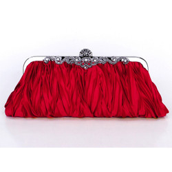 Vintage Style Evening Clutch Pleated Purse Burgundy