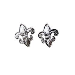 Fleur De Lis Stud Earrings Silver Tone