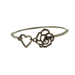 Heart and Rose Wire Bracelet Black