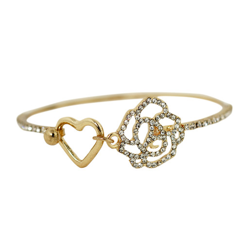 Heart and Rose Wire Bracelet Gold