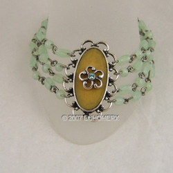 Victorian Bracelet Four Row Beaded Green