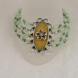 Victorian Bracelet Four Row Beaded Green