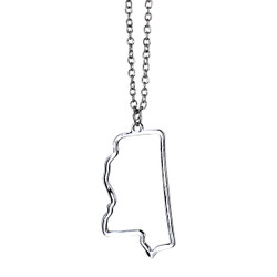 State of Mississippi Necklace Silver