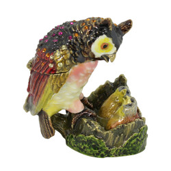Mother Owl with Nest Full of Babies Trinket Box