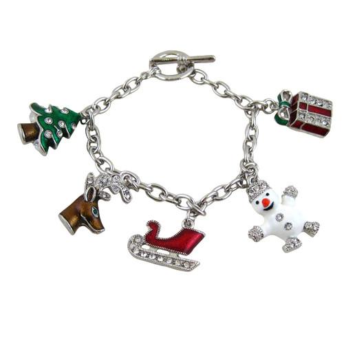 Christmas Charms Bracelet Silver Jeweled