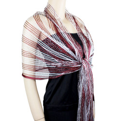 Large Sparkling Fishnet Scarf Burgundy, White, Silver