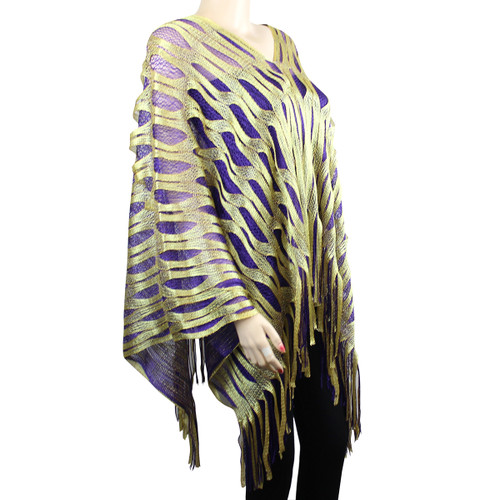 Sparkling Fishnet Poncho Purple and Yellow