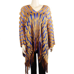 Sparkling Fishnet Poncho Blue, and Orange