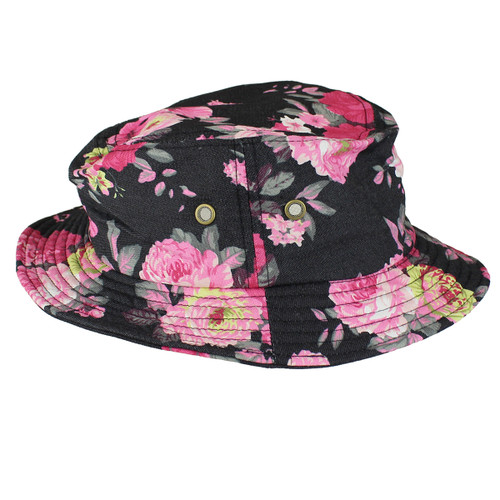 Fisherman's Bucket Hat Pink Roses