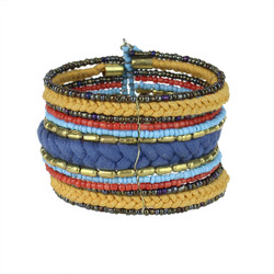 Bohemian Braided and Beaded Wrist Cuff Blue and Tan