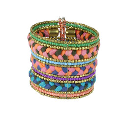 Bohemian Braided and Beaded Wrist Cuff Tripple Braid Pink, Coral, and Purple