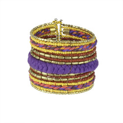 Bohemian Braided and Beaded Wrist Cuff Purple, and Yellow