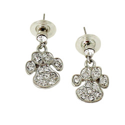 Sparkling Animal Paw Dangling Earrings with Crystals