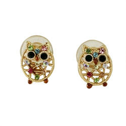 Little Crystal Owl Stud Earrings