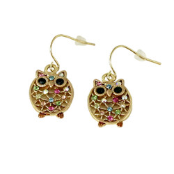 Little Crystal Owl Dangling Earrings