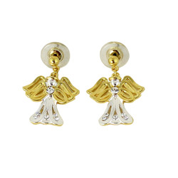Lovely Two Toned Dangling Angel Earrings with Crystals