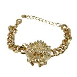 Rihanna Inspired Lion Head Charm Bracelet Gold Tone