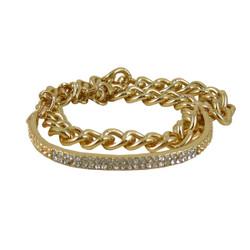 Gold Toned Double Wrap Chain Bracelet