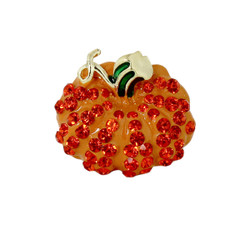 Bejeweled Pumpkin Ring with Stretchy Band