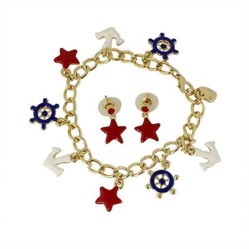 All Things Nautical Bracelet and Earrings Set
