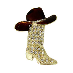 Crystal Encrusted Cowboy Boot and Hat Brooch or Pendant Gold and Brown