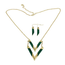 Know Your Direction Double Necklace With Stone Green Malachite