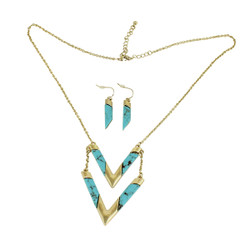 Know Your Direction Double Necklace With Stone Turquoise