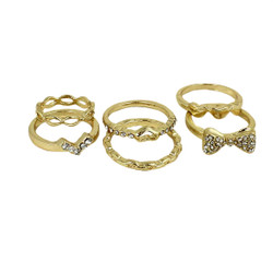 Set of Six Cutie Pie Rings Gold