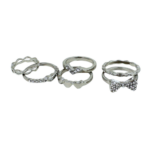 Set of Six Cutie Pie Rings Silver