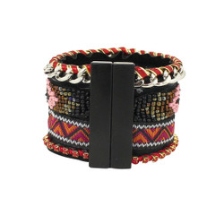 Beaded Tribal Chevron Woven Cuff