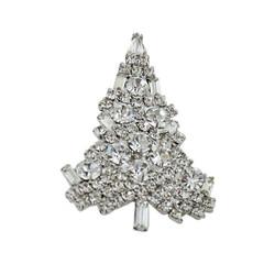 Sparkling Christmas Tree Brooch Silver