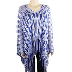 Sparkling Fishnet Poncho Blue and White