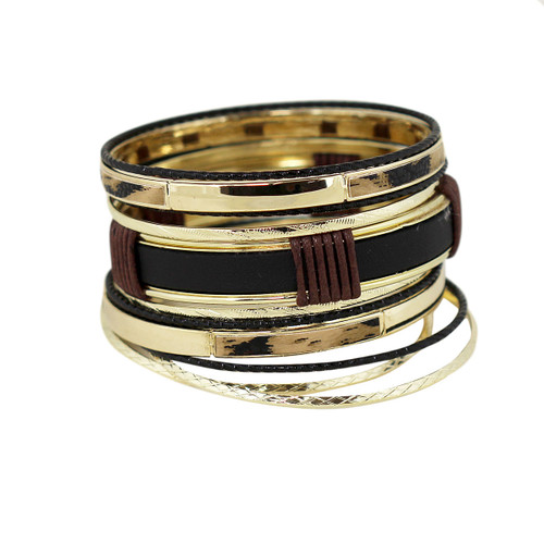Leather & Tortoise Embellished Bangles Set