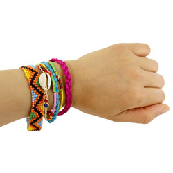 Colorful Multi Strands Woven Beaded and Shells Bracelet