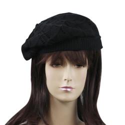Stylish French Loose Woven Beret Black