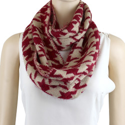 Soft Knit Houndstooth Infinity Scarf Burgundy