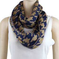 Soft Knit Houndstooth Infinity Scarf Navy Blue