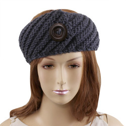 Woven Headband with Wooden Button Detail Grey