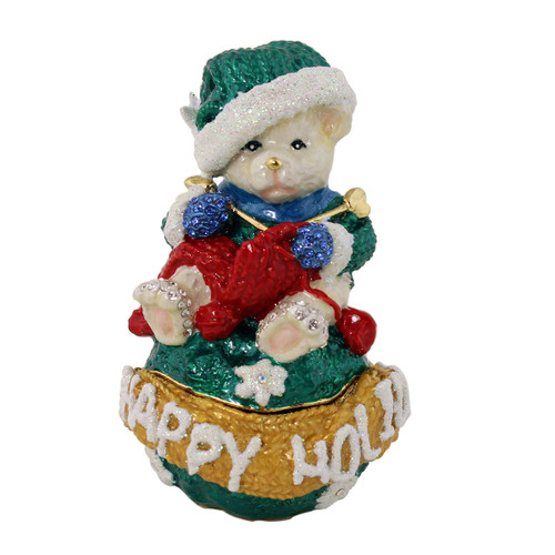 Happy Holidays Teddy Bear Knitting Red Scarf Trinket Box