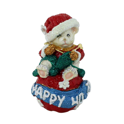 Happy Holidays Teddy Bear Knitting Green Scarf Trinket Box