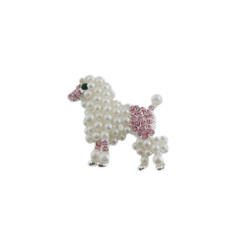 White Pearl Poodle Pin