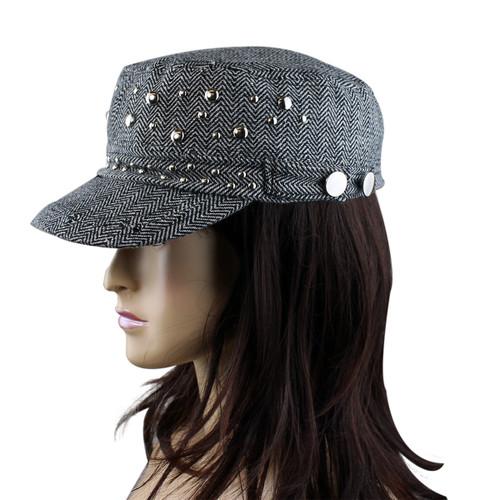 Subtle Zigzag Pattern Revolutionary Cap with Studs Black