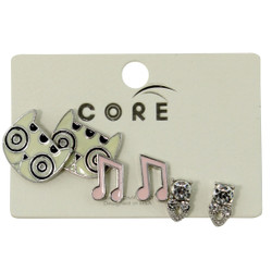 Sparkly, Dizzy Kitty, and Musical Notes Earring Studs Silver