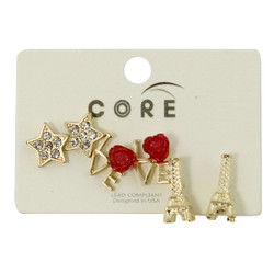 Glittering Stars, Rosy Love, and Eiffel Towers Earrings Studs Gold