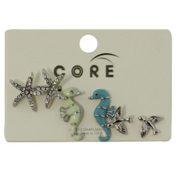 Under and Above the Sea Earrings Studs Silver