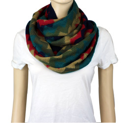 Soft Thin Wave Chevron Pattern Infinity Scarf Coral, Navy, Teal