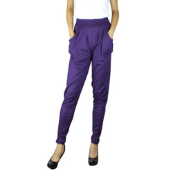 Solid Color Harem Pants with Pockets Purple