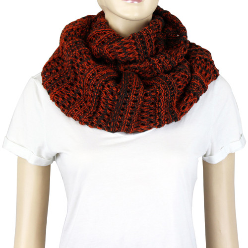 Two Tone Infinity Knitted Scarf Red