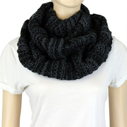 Two Tone Infinity Knitted Scarf Black